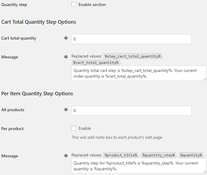 Product Quantity for WooCommerce - Quantity Step Options