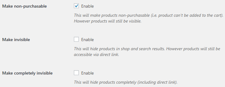 Product Time Countdown for WooCommerce - Admin Settings - Disable product Action Options