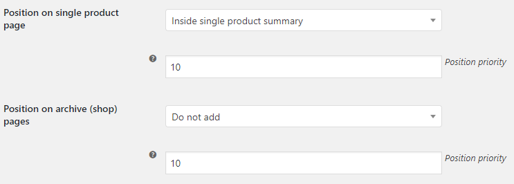 Product Time Countdown for WooCommerce - Admin Settings - Position Options