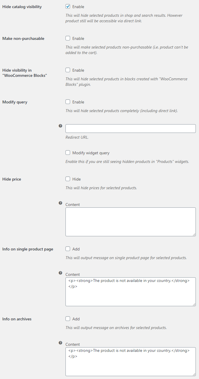 Product Visibility by Country for WooCommerce - General Options