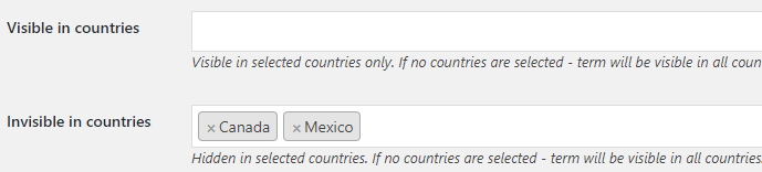 Product Visibility by Country for WooCommerce - Product Terms - Term Options