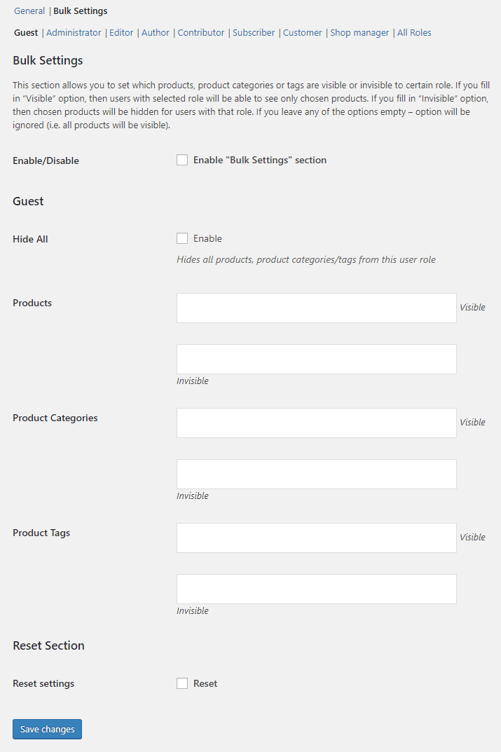Product Visibility by User Role for WooCommerce - Admin Settings - Bulk Options