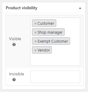 Product Visibility by User Role for WooCommerce - Admin Settings - Product Meta Box