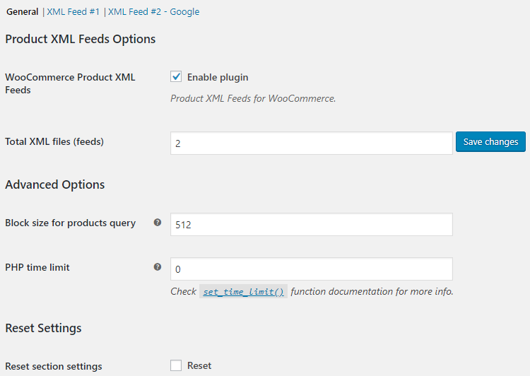 Product XML Feeds - General Options