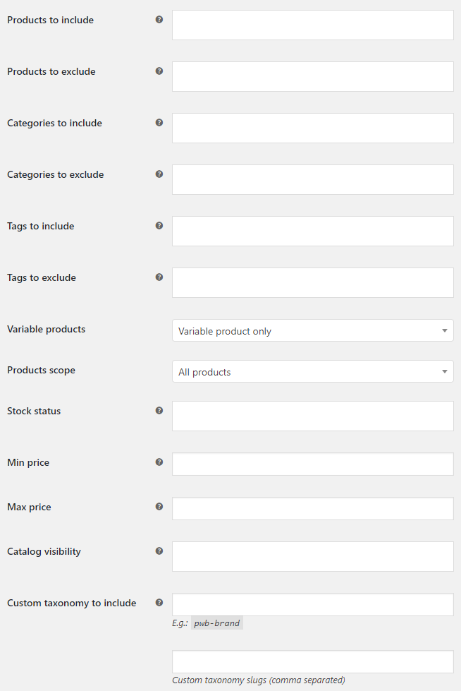 Product XML Feeds for WooCommerce - Products Filtering Options