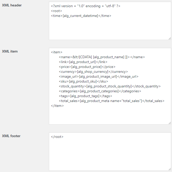 Product XML Feeds for WooCommerce - Template Options