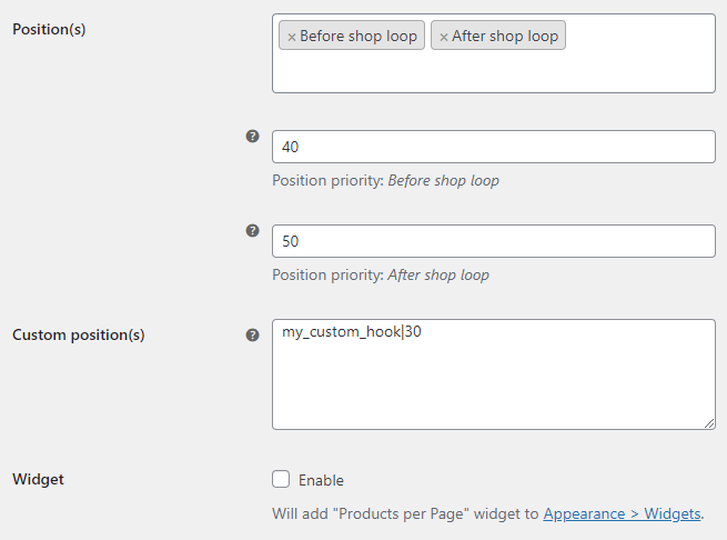 Products per Page for WooCommerce - Position Options