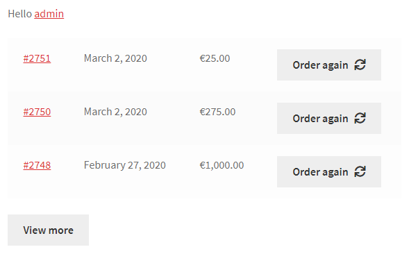 Recent Orders for WooCommerce - Frontend Example
