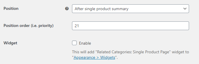 Related Categories for WooCommerce - Position Options