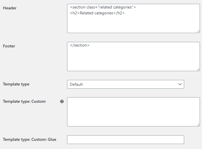 Related Categories for WooCommerce - Template Options
