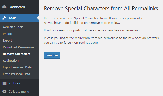 Remove Special Characters From Permalinks - WordPress Plugin