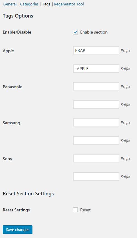 SKU Generator for WooCommerce - Tags Options