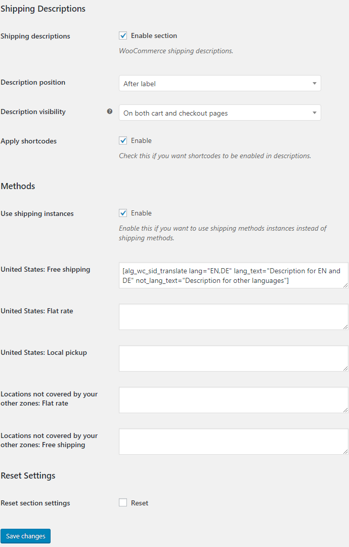 Shipping Icons and Descriptions for WooCommerce - Shipping Descriptions Options