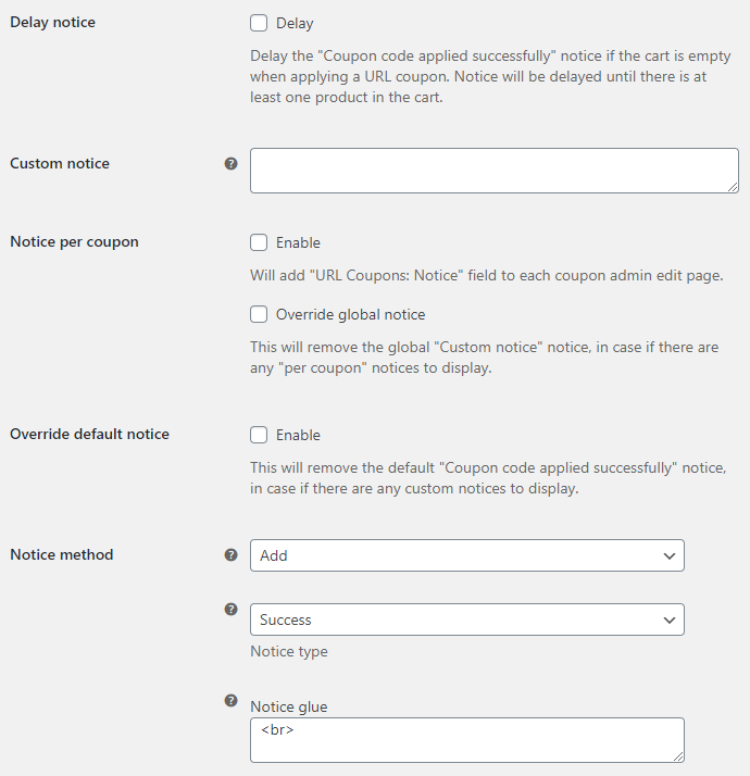 URL Coupons for WooCommerce Notice Options