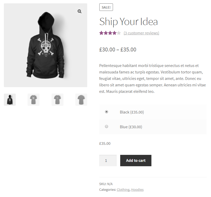 Variations Radio Buttons for WooCommerce - After