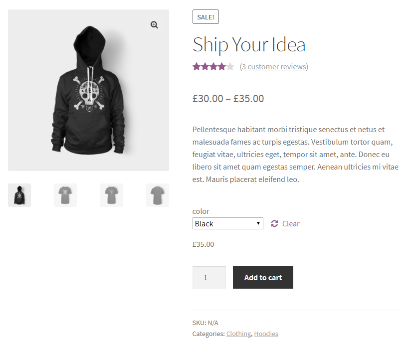Variations Radio Buttons for WooCommerce - Before