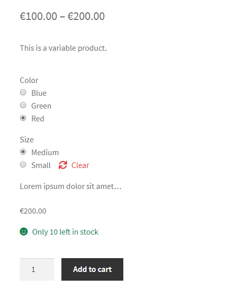 Variations Radio Buttons for WooCommerce - Frontend - Separate Attributes