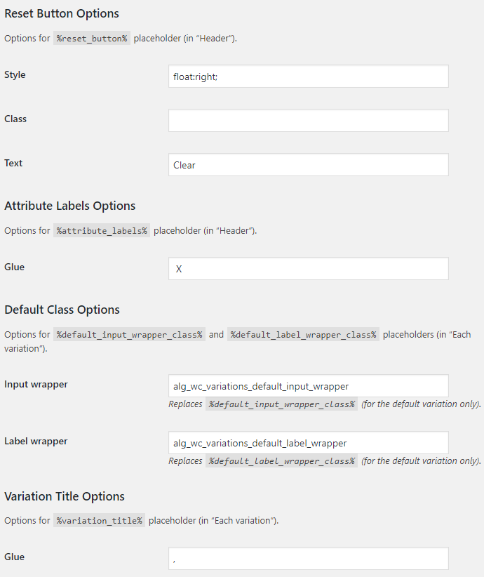 Variations Radio Buttons for WooCommerce - Placeholder Options
