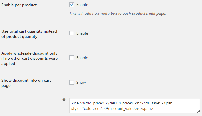 Wholesale Pricing for WooCommerce - General Options