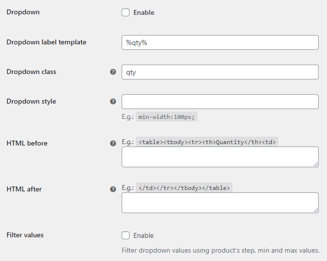 Wholesale Pricing for WooCommerce - Quantity Dropdown