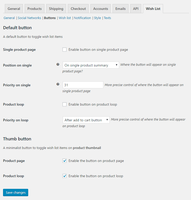 Wish List for WooCommerce - Admin Settings - Buttons