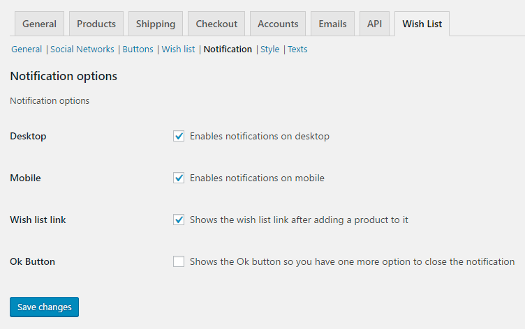 Wish List for WooCommerce - Admin Settings - Notifications