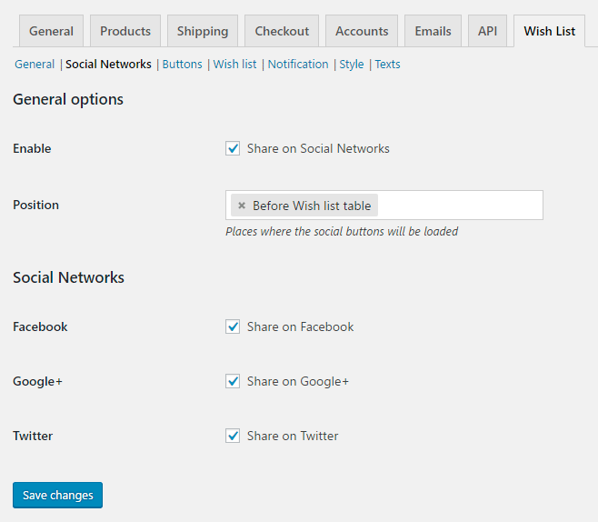 Wish List for WooCommerce - Admin Settings - Social Networks