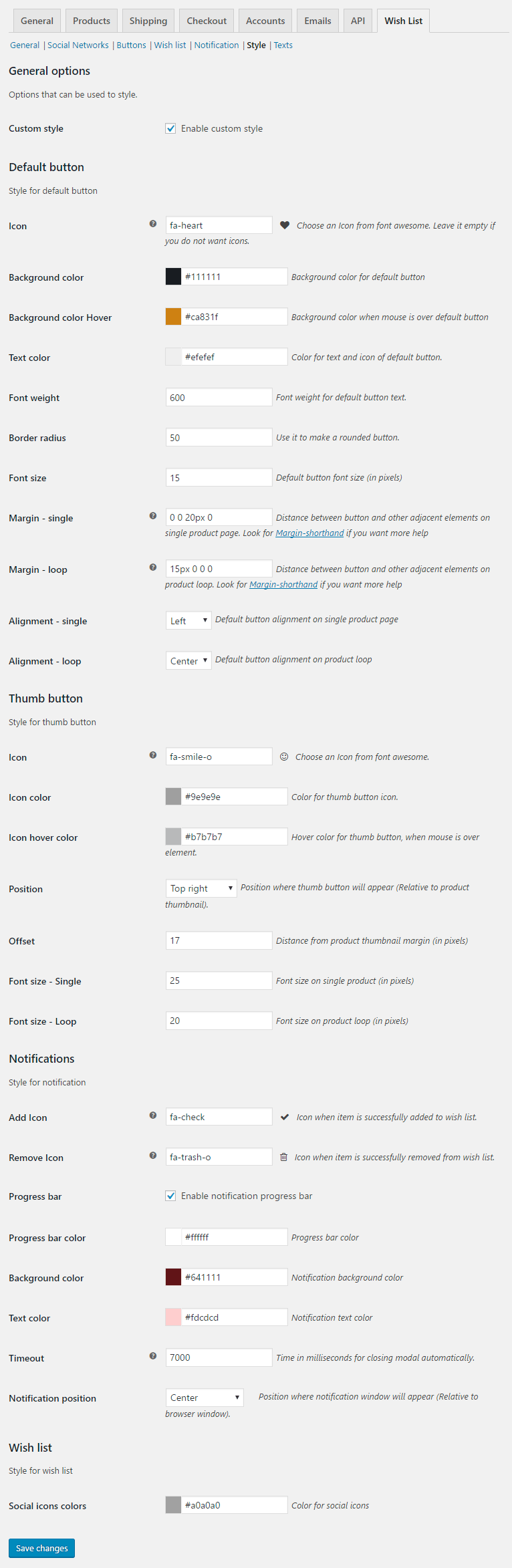 Wish List for WooCommerce - Admin Settings - Style