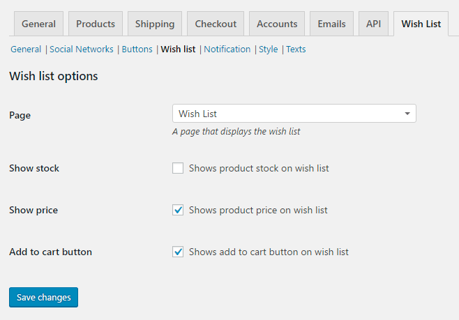 Wish List for WooCommerce - Admin Settings - Wish List
