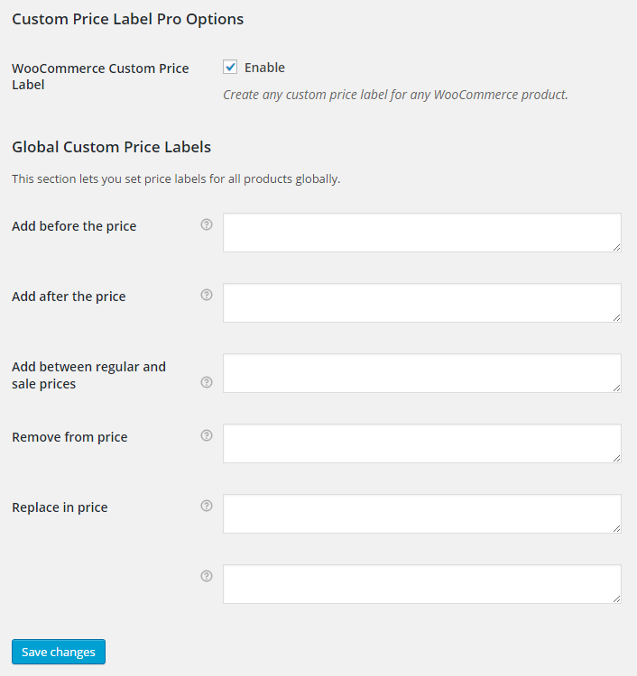 WooCommerce Custom Price Label Plugin - General Settings