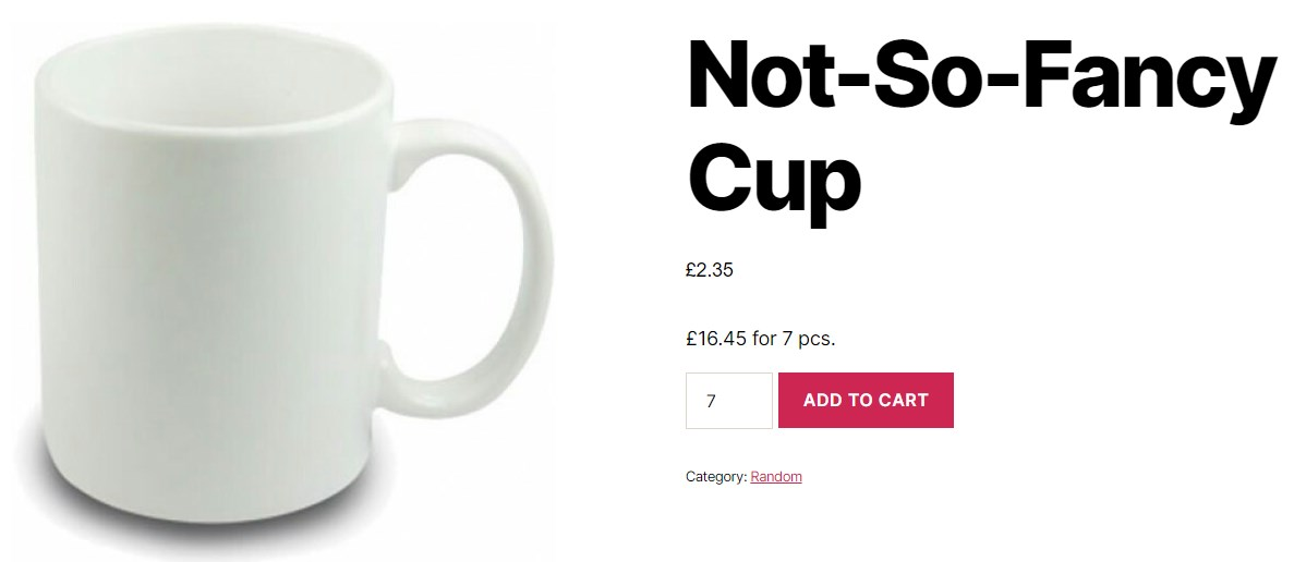 WooCommerce Quantity Control - Simple Cup Prices