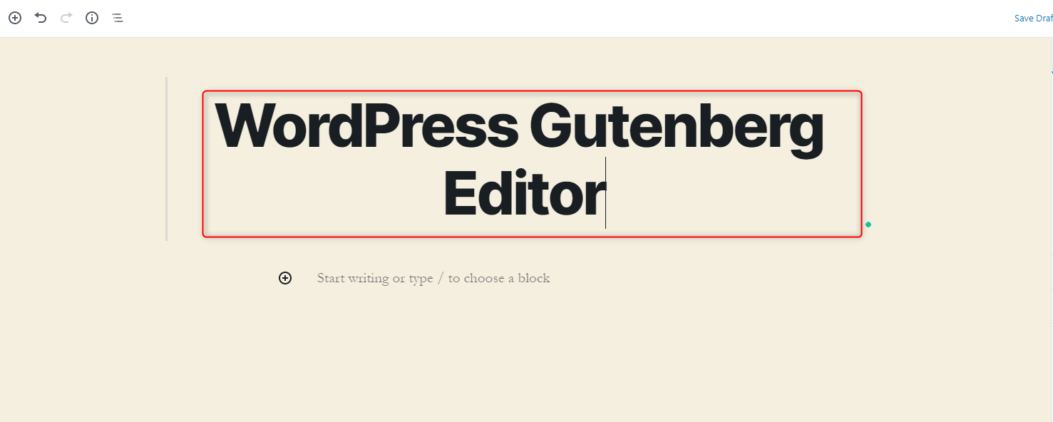 WordPress Gutenberg Editor - Add a title for your post