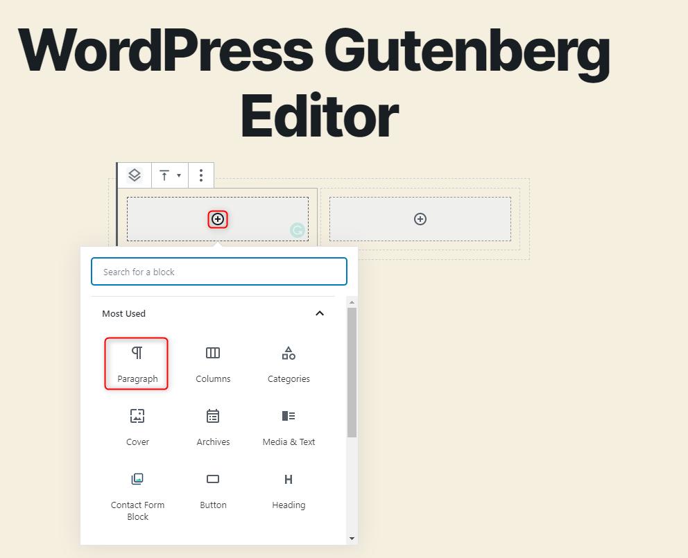 WordPress Gutenberg Editor - Adding content to the columns block