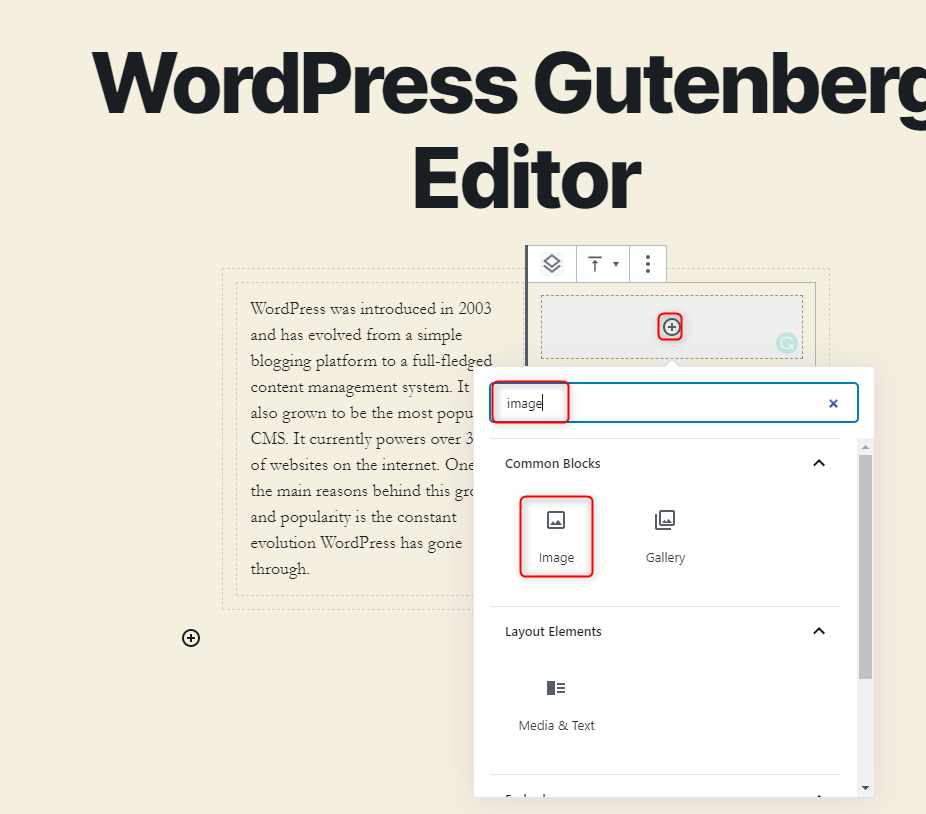 WordPress Gutenberg Editor - Adding the image block