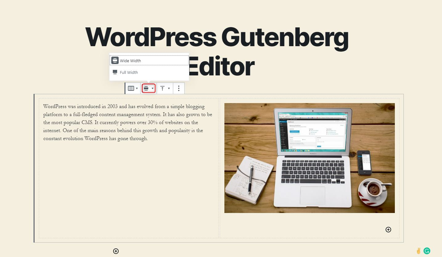 WordPress Gutenberg Editor - Changing the alignment of the blocks