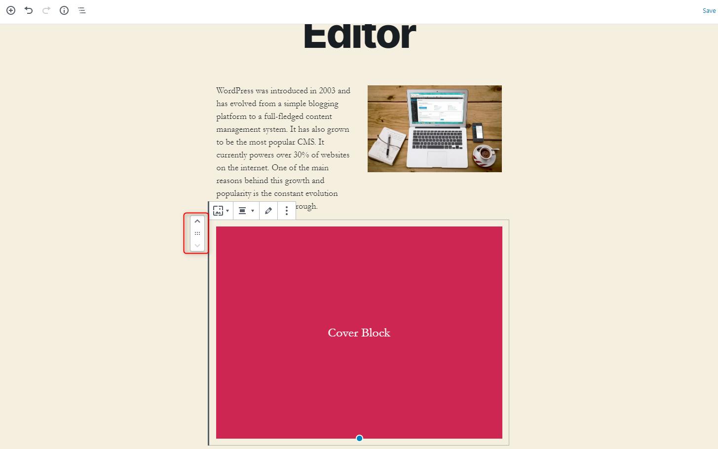 WordPress Gutenberg Editor - Changing the position of blocks