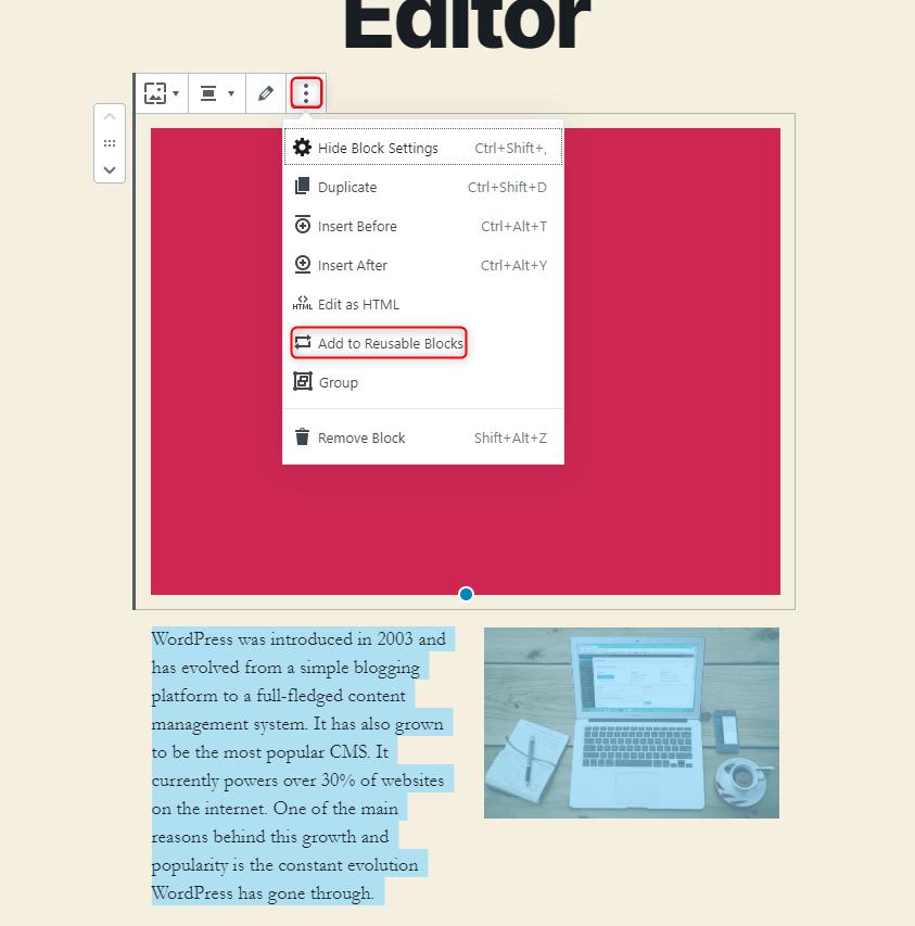 WordPress Gutenberg Editor - Create reusable block templates