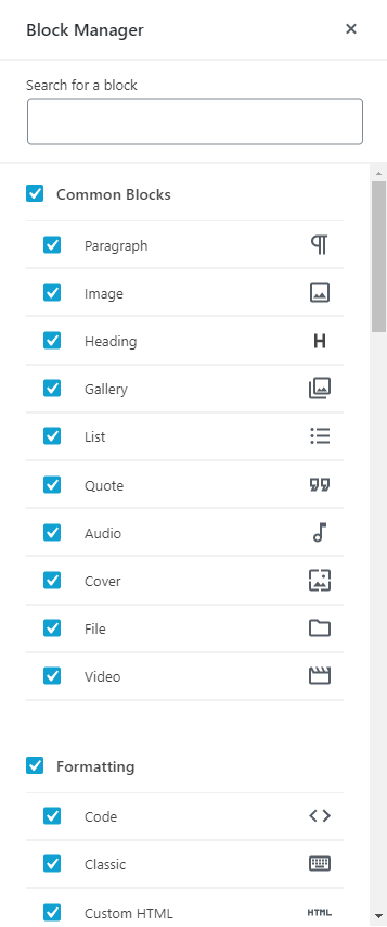 WordPress Gutenberg Editor - Customizing blocks using the block manager