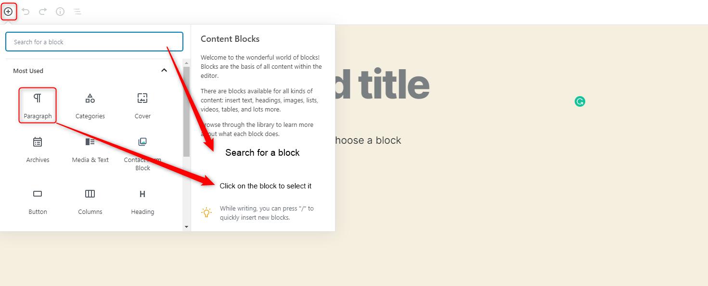WordPress Gutenberg Editor - Discovering blocks