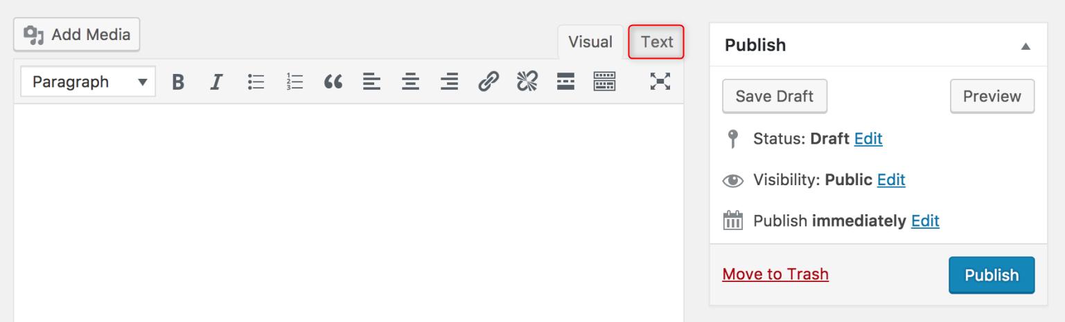 WordPress Gutenberg Editor - Switching to the code editor